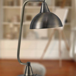 Kenroy - Kenroy 32003AB Hanger Contemporary Desk Lamp - Reminiscent of a kitchen pendant light, but designed for a desk, Hanger's classic shape is balanced from a sharply designed base and finished in a warm Antique Brass.
