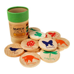 Tree Hopper Toys - Match Stacks - Backyard Creatures - A Tree Hopper twist on a classic educational game! MATCH STACKS is a durable, portable, and super cute memory and matching game.