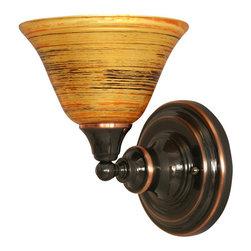 "Toltec - Toltec 40-BC-454 Black Copper Finish Wall Sconce with 7"" Firre Saturn Glass - Toltec 40-BC-454 Black Copper Finish Wall Sconce with 7"" Firre Saturn Glass"