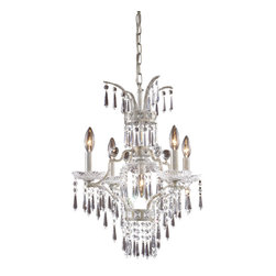 Elk Lighting - La Fontaine 5-Light Chandelier in Sunset Silver - This collection was designed in the classic early 19th century french empire style. The vividness of the crystal pendalogues and bobeches is enhanced by the sunset silver finish.