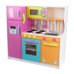 KidKraft - Deluxe Big and Bright Kitchen by Kidkraft - Kids will feel just like mom and dad when they cook up fun with the Deluxe Big and Bright Kitchen. This wooden kitchen is cute, colorful and built to last.