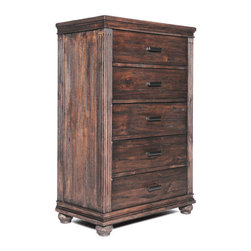 ZUO - The City 5 Drawer Chest - Inspired by the British colonial style of steamy climes, The City 5 Drawer Chest is a handsome walnut piece with Victorian carving. Beautiful in a light, sunny room. Tropical setting not necessary.