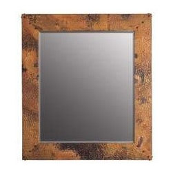 """KCK Bathroom Mirrors & Accessories - Large Tuscany Mirror - Beveled edge glass. Hand hammered copper. Nails forged by hand. Horizontal or vertical mounting. 31"""" W x 35"""" D 