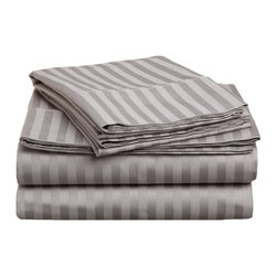 300 Thread Count Egyptian Cotton Olympic Queen Grey Stripe Sheet Set - This Olympic Queen sheet set features a classy tone on tone stripe pattern with a luxurious feel! Made of 100% Egyptian cotton. Sheet Set is a tone on tone stripe with a single pleated hem. Set includes flat sheet, fitted sheet and a matching set of pillowcases.