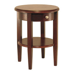 Winsome - Concord Round End Table - Beautiful walnut finish round end table with tapered legs. Drawer has satin nickel knob, shelf for storing dcor. Match with End Table#94217, Side Table # 94220, Half Moon Hall Table with shelf#94039 or # Half Moon Table# 94132 colleciton.