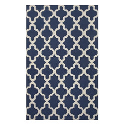 Jaipur Rugs - Jaipur Rugs Flat-Weave Moroccan Pattern Wool Blue/Ivory Area Rug, 5 x 8ft - An array of simple flat weave designs in 100% wool - from simple modern geometrics to stripes and Ikats. Colors look modern and fresh and very contemporary.