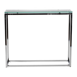 Euro Style - Sandor Console Table - Clear Glass/Chrome - The proportions of these three tables (coffee, side and console) are iconic to say the least.  Tops in clear or pure white glass float on perfectly geometric chrome steel bases.  We're talking Museum of Modern art here.  Not really.  But it's the right thing to do.