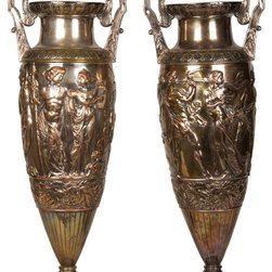 Spectacular pair of antique WMF silver plated figural carved vases, French 19th - Dimensions: W 10''  × H 28''