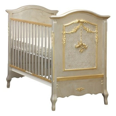 AFK Cherubini Crib, Silver & Gold Gilding - This will be baby's first bit of luxury. Or if you like the look but don't have the budget, try DIYing some gold leaf molding on the side of a plain crib.