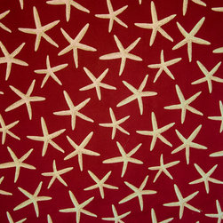 Red starfish fabric sea star upholstery - A star fish fabric. A red upholstery weight fabric with sea stars!