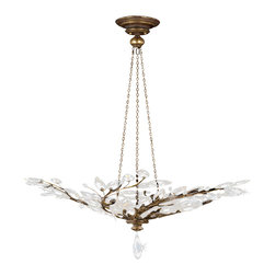 Fine Art Lamps - Crystal Laurel Gold Pendant, 776440ST - Pendant in antiqued warm gold leaf with stylized faceted crystal leaves. 60 watt B-10 bulb, candelabra base light bulb. UL Listed, porcelain socket. 6' of standard chain, rod or cable included. Bulb(s) not included. We recommend that all Fine Art Lamps are hung by a professional electrician. All fixtures come with specific hanging instructions and descriptions. Contact Houzz for specific questions regarding installation instructions