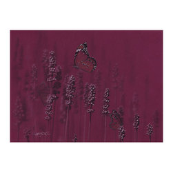 Butterflies Hand Drawn in a Lavender Field, 16.5x20.5 - Beautiful burgundy colored drawing of butterflies in a peaceful lavender field printed on archival bright white paper