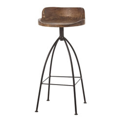 Arteriors - Hinkley Bar Stool - Bring a sense of industrial chic to your bar with this handsome stool. Its low-backed wooden seat, which has been sandblasted and given a natural wax finish, swivels on a rustic iron base.