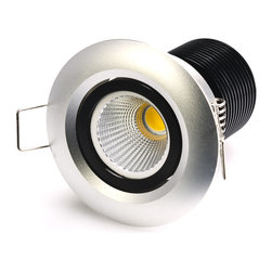 8 Watt COB LED Aimable Recessed Light Fixture - Bridgelux COB - Recessed Downlight with 1 x 8W High Power Bridgelux COB LED. 100~240V AC operation. Cool White - 5600K @ 420 lumen. Warm White - 3000K @ 345 lumen. 80 degree beam angle. Flush mounts in 2 inch hole with spring retaining clips. Pivots +/-45 degrees on one axis. UL recognized LED driver included. See non-aimable version here