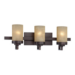 Designers Fountain - Designers Fountain Castello Bathroom Lighting Fixture in Tuscana - Shown in picture: Castello 3 Light Bath Bar in Tuscana finish with Antique Linen glass