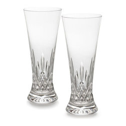 Waterford - Waterford Lismore Beer Pilsner Glasses, Set of Two - The Waterford Lismore pattern is a stunning combination of brilliance and clarity. Designed in the classic style of traditional Bohemian pilsner glasses, the Lismore Pilsner / Tall Beverage glass features a slender, gently tapered profile accented by dramatic diamond and wedge cuts in the classic Lismore pattern. Waterford's hand-crafted fine crystal guarantees diamond-like clarity and a glass of comforting weight and stability.