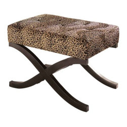 Leopard Animal Print Accent Stool - A pair of these well-priced leopard print X-base stools would look great at the end of a bed, or as additional seating in a living or family room, tucked under a library table.