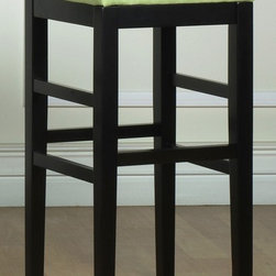 """Armen Living - Sonata Stationary Stool in Green w Black Legs - Choose Seat Height: 26 in.Black wooden legs. Made from 100% bicast leather and microfiber fabric. 14.5 in. L x 14.5 in. W x 26 in. H (12 lbs.)While the refined design profile and upright posture of the backless Sonata barstool whispers of minimalism, seven lively cushion color choices offer a full palette of vivid expression. The Sonata also features easy-to-clean microfiber upholstery. Lime green microfiber backless 26"""" stationary barstool with an ebony finished wood frame. 1.8 density foam"""