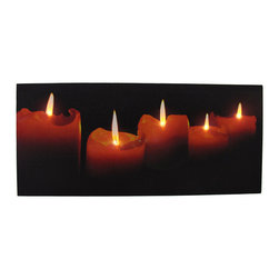 Zeckos - Flickering LED Candles Printed Canvas Wall Hanging - This beautiful printed canvas features an image of burning candles, and has perfectly placed LED lights to bring it to life. It measures 9 inches tall, 20 inches wide, and has 2 hanging slots cut into the wooden frame so it easily mounts to any wall. The flickering lights are powered by 2 AA batteries (not included), are controlled by an inconspicuous on/off switch on the side of the canvas, and unsightly wires are concealed and contained by the vinyl backing. This piece is a lovely accent in bedrooms, living rooms, and dining rooms, and makes a wonderful gift for a friend.