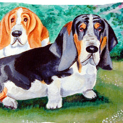 Caroline's Treasures - Basset Hound Double Trouble Fabric Standard Pillowcase Moisture Wicking Material - Standard White on back with artwork on the front of the pillowcase, 20.5 in w x 30 in. Nice jersy knit Moisture wicking material that wicks the moisture away from the head like a sports fabric (similar to Nike or Under Armour), breathable performance fabric makes for a nice sleeping experience and shows quality.  Wash cold and dry medium.  Fabric even gets softer as you wash it.  No ironing required.