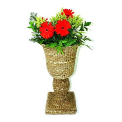"Woven Sea Grass Urn with Fiberglass Liner - Woven Sea Grass Urn with Fiberglass Liner Hand crafted by master craftsmen from seagrass, iron & fiberglass.  15.5"" diameter/29.75"" tall Weight: 4 pounds 6 ounces Outdoor use in protected area only."