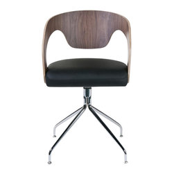 Euro Style - Bernice Swivel Barrel Dining Chairs - 2 Pc Se - Bring a retro inspired look to your dining decor with these innovative barrel shaped dining chairs, featuring swivel bases for added comfort. Featuring shaped MDF backs in your choice of finishes, the chairs have faux leather padded seats and are sold in a set of two. Set of 2. Veneered MDF back, Leatherette seat. Chrome base. Made of MDF/Leatherette/Chrome. Walnut Back and Black Seat. Warranty: 1 year. Tools for Assembly Included. Some Assembly Required. Assembly Instructions. 20 in. W x 21 in. D x 34 in. H (33 lbs.)