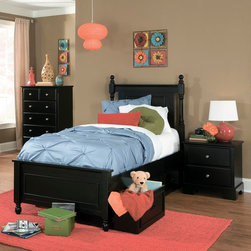 Homelegance - Homelegance Morelle 3 Piece Captain's Bedroom Set w/ Toy Box in Black - The warmth of cottage living is invoked by the classic styling of the Morelle Collection. The collection is designed with many features perfect for today s casual lifestyle such as a low post bed with simple picture framing and round finials plus molded drawer fronts and satin nickel knobs on the case pieces. The addition of a pull out trundle and toy box offerings further the functionality of the collection. The ability to choose from twin  full  queen  California king and Eastern king bed sizes makes this group perfect for youth bedrooms  guest bedrooms or master bedrooms. Adding to the versatility are two distinct painted finishes  black and white.