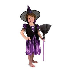 Melissa and Doug Witch Dress Up - Exquisitely detailed, the Melissa and Doug Witch Dress Up will have your adorable little witch casting spells for all to see. Included in this set is a reversible hat with a silver foil on one side and purple on the reverse for that extra bit of magic in its design. The adjustable satin dress features a velvety vest, black lace, and silver straps across the bodice. This makes a layered look that adds drama, but is deceptively easy to wear. Slip it on for trick-or-treating or for playtime at any time of the year. A broom with glittery tulle adds play value, so good little witches can really let their imaginations take flight. Hair of dog and eye of newt, this witch costume is cute, cute, cute!About Melissa & Doug ToysSince 1988, Melissa & Doug have grown into a beloved children's product company. They're known for their quality, educational toys and items, and have grown in double digits annually. The Melissa & Doug company has been named Vendor of the Year by such great retailers as FAO Schwarz, Toys R Us, and Learning Express, and their toys have been honored as Toys of the Year by Child Magazine, FamilyFun Magazine and Parenting Magazine. Melissa & Doug - caring, quality children's products.