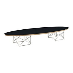"""LexMod - Surfboard Coffee Table in Black - Surfboard Coffee Table in Black - The effects of buoyancy are carefully observed in this energetic piece. Although the polished steel rod stands are a work unto their own, the simple beauty of this table is in its completeness. While the top extends the length of a standard sofa, the tone is both slight and charming. Rather than something massive, the elliptical nature of the plywood top seems to effortlessly ride the horizon line. Surfboard is a favorite among commercial reception and lounge areas, that seek something both formative and conceptually unobtrusive. Set Includes: One - Surfboard Elongated Coffee Table Modern elongated coffee table, High grade plywood top, Polished stainless steel base Overall Product Dimensions: 70""""L x 23""""W x 10""""H Table Top Dimensions: 1""""H Floor to underside of table: 9""""H Space between legs: 12""""W - Mid Century Modern Furniture."""