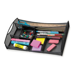 "Safco - Onyx Mesh Drawer Organizer - Black - Onyx it! The mesh drawer organizer is an easy way to organize pens, pencils, rulers and other desk essentials. It also looks great on top of a desk as a small accessory caddy to keep frequently used items within easy reach.; Features: Material: Steel; Color: Black; Finished Product Weight: 2 lbs.; Assembly Required: No; Limited Lifetime Warranty; Dimensions: 13""W x 8 3/4""D x 2 3/4""H"