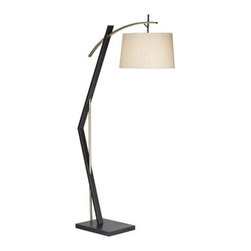 Pacific Coast Lighting City Sleek Floor Lamp - Modern and linear, Pacific Coast Lighting City Sleek Floor Lamp is a sleek way to add light to your space. Its angular base in black and steel is a perfect foil to the beige fabric drum shade.About Pacific Coast LightingPacific Coast Lighting was founded in 1979. Since then they have set a standard of excellence for the entire lighting industry. They have built a reputation for innovative design, quality workmanship, and market responsiveness. Pacific Coast Lighting has its own house brand and is the exclusive lighting and accessory manufacturer for several of today's prestigious lifestyle brands. Kathy Ireland Home and National Geographic Home collections are two of these well-respected lines.