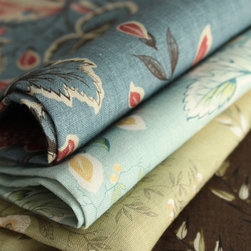 Hatley by Suzanne Tucker Home - Printed on a finely woven linen, Hatley depicts a fantasy garden with stylized leaves, trailing vines and flowering branches from an English document circa 1830.
