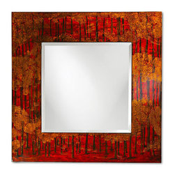 """Grandin Road - Mia Wall Mirror - Wide wood frame is beautifully finished with attention to detail. Mirror has a 1"""" beveled edge. Hanging hardware included. Our dramatic Mia Wall Mirror showcases a wide, lacquered frame painted with deep reds and yellows on a black background. This mirror features a bold, contemporary look that captures the imagination with its skilled use of color, proportion, and texture. . Mirror has a 1"""" beveled edge. ."""