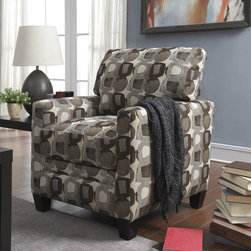 Serta - Serta Martini-coconut Print Fabric Track Arm Accent Chair - Featuring lush and luxurious polyester upholstery and a high density seating foam,this accent chair is finished in a martini-coconut print to add contemporary appeal to your home. Comfortable and supportive,this seat is constructed with hardwood.