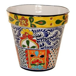 "Mexican Talavera - Mexican Talavera Flower Pot - 10"" Diameter - Large - Design C - Mexican Talavera Flower Pot - 10"" Diameter e Large"