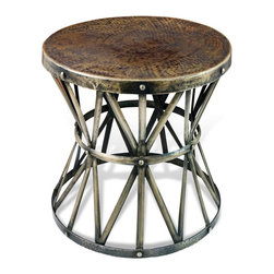 Zemico Dark Antique Brass Hammered Rustic Iron Side Table - Rugged yet gorgeous furniture is key to a ski lodge's aesthetic. These side tables are functional yet interesting.