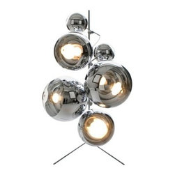 IMPORT LIGHTING AND FUNITURE - Tom New Modern Chrome Mirror Dixon Ball Floor Lamp - This light features an array of various sized glass diffusers on a sturdy steel stand. Full of dynamic energy, emitting a bright light. This mirror ball floor lamp is very unqiue and fun, you can arrange the mirror balls in many different ways. The lamp comes with 2 large mirror balls, 2 medium mirror balls, and 2 mini mirror balls. Each ball consist of a light source very rich to light up every angle of your room. Each mirror ball is made of carbon steel and glass. The outside of each ball consist of a chrome layer giving it a mirror reflection. The The lamp is sold as pictured.