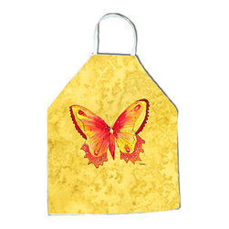 "Caroline's Treasures - Butterfly on Yellow Apron - Apron, Bib Style, 27""H x 31""W; 100% Ultra Spun Poly, White, braided nylon tie straps, sewn cloth neckband. These bib style aprons are not just for cooking - they are also great for cleaning, gardening, art projects, and other activities, too!"