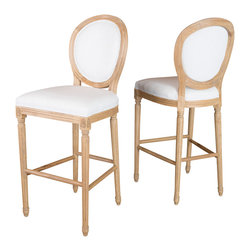 Great Deal Furniture - The Roseville Eggshell Fabric Single Bar Stool - The Roseville bar stool is an elegant piece that is inspired by French design. It is neutral in color and accented with artistically hand carved weathered wood trim. Whether in your kitchen, dining room or bar area, this stool will be a charming addition to your home.