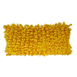 Funberry Yellow Solid Pillow - Hand woven poly nubs pillow.
