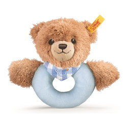 Steiff - Steiff Baby Sleep Well Teddy Bear Blue Grip Toy - Steiff Sleep Well Teddy Bear Grip Toy is made of plush for baby-soft skin. Steiff Sleep Well Teddy Bear Grip Toy has a rattle.  Machine washable. Handmade by Steiff of Germany.