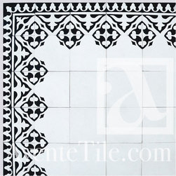 """Traditional Yuna Cement tile 8"""" x 8"""" - Traditional handmade cement tile. Use this colorway or design your own. Price per tile, unpolished finish and colors shown."""