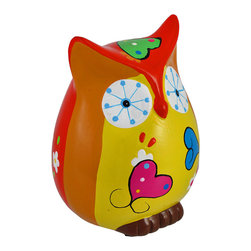 Zeckos - Whimsical Red and Orange Owl Coin Bank Hand Painted - This whimsical red, orange and yellow owl coin bank is the perfect accent to any little girl's room, while encouraging a healthy saving habit. The cast resin bank is lovingly hand painted in bright, bold colors and features heart accents. It measures 5 1/4 inches tall, 4 1/4 inches wide, 4 1/4 inches deep, and empties via a plastic plug on the bottom. This piece makes a wonderful birthday gift for a special little girl in your life, and is sure to be admired by all.