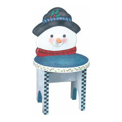 Renovators Supply - White/Blue Wood Snowman Stool - Snowman Chair 16 1/2 in. H x 9 in. dia. This cute- hand crafted snowman stool gets you into the holiday spirit. It measures 16 1/2 inch high and 9 inch diameter.