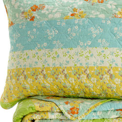 Melange Home - Wildflower Fields Quilt Set - Turquoise, King - Details: