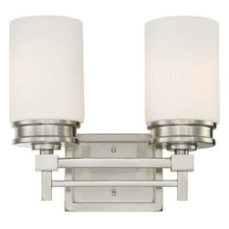 Nuvo Lighting - Nuvo Lighting 60/4702 Wright Two Light Bathroom Fixture - Nuvo Lighting 60/4702 Wright Two Light Bathroom Fixture with Satin White Glass, in Brushed Nickel FinishClassically Frank Lloyd - The Wright collection is the essence of Wright's design concepts. Clean linear simple lines that are visually pleasing and perform a function. This collection is available in Prairie Bronze with Amaretto Ribbed glass shades and Brushed Nickel with Satin white Ribbed glass shades.Nuvo Lighting 60/4702 Features: