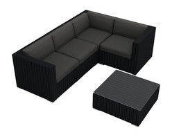 Harmonia Living - Urbana 5 Piece Modern Patio Sectional Set, Charcoal Cushions - If your favorite place to entertain is outside, here's the perfect modular sectional and coffee table. Configure it in a new way for every party, depending on who's coming over, or buy more than one! The durable resin wicker, sturdy aluminum feet and Sunbrella® cushions can handle the elements for as long as you can.