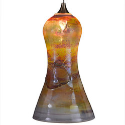 Bell Glass Pendant Light, Gold Multi