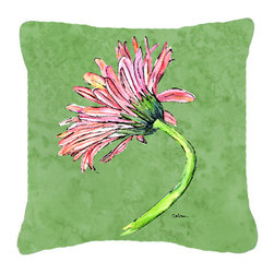 Caroline's Treasures - Gerber Daisy Pink Fabric Decorative Pillow - Indoor or Outdoor pillow made of a heavy weight canvas. Has the feel of Sunbrella fabric. 14 inch x 14 inch 100% Polyester Fabric pillow Sham with pillow form. This pillow is made from our new canvas type fabric can be used Indoor or outdoor. Fade resistant, stain resistant and Machine washable.