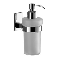 Gedy - Wall Mounted Frosted Glass Soap Dispenser With Chrome Mounting - Modern, contemporary style wall mounted hand soap dispenser.